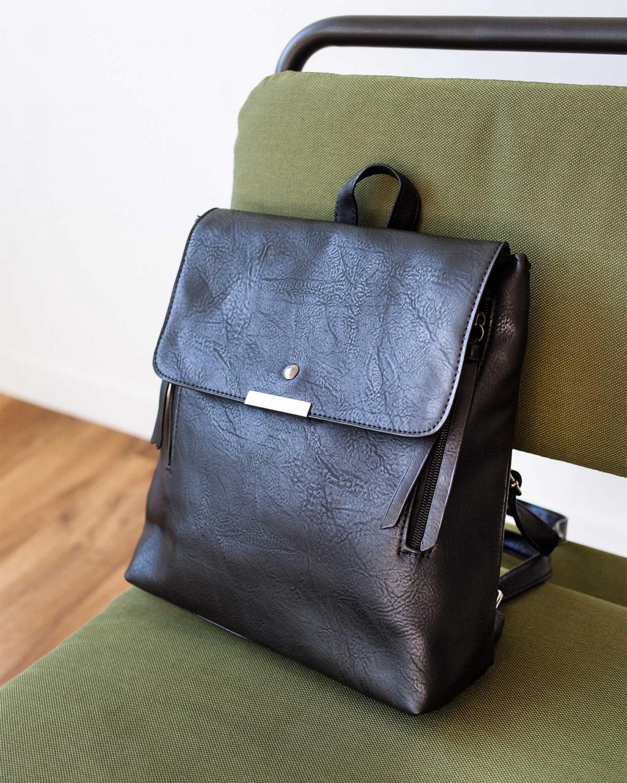 Τσάντα πλάτης με μεταλλική λεπτομέρεια - Μαύρο/Ατσαλί