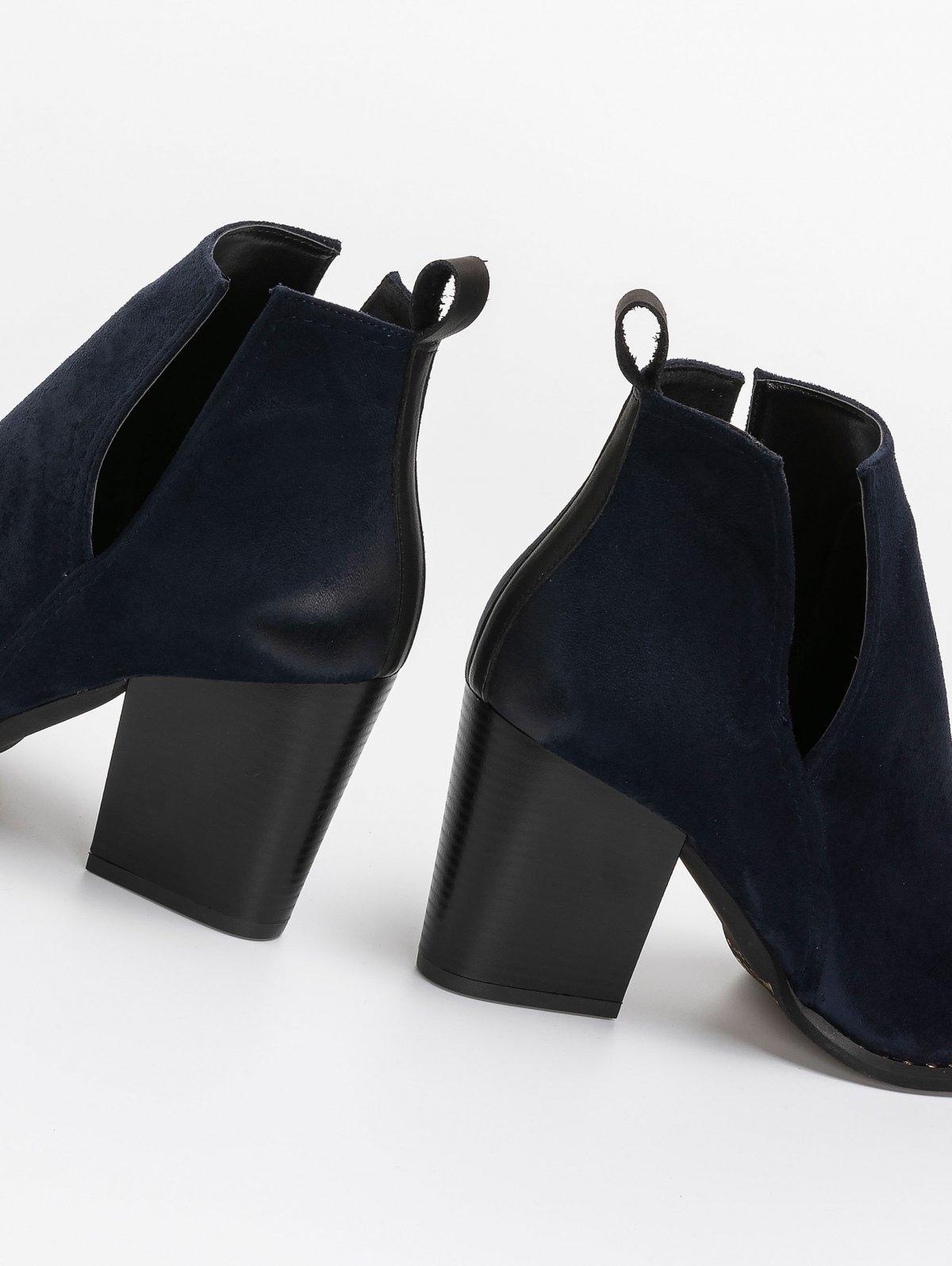 Western ankle boots με διχρωμία - Μπλε σκούρο